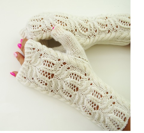 Water Lily fingerless mittens